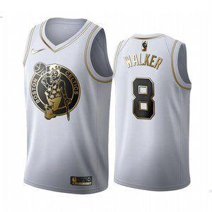 Celtics #8 Kemba Walker White Golden Jersey